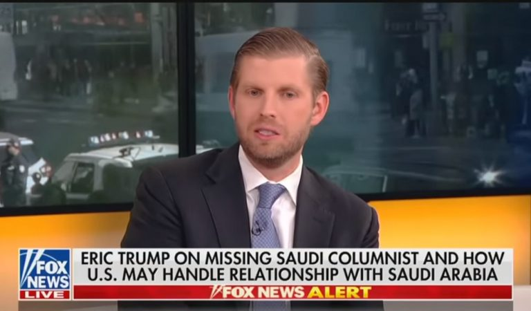 "Shocking Video Of Eric Trump Shows Him Explaining Dad's Foreign Policy: We Won't ""Throw Away"" Arms Deal Over Journalist's Murder"