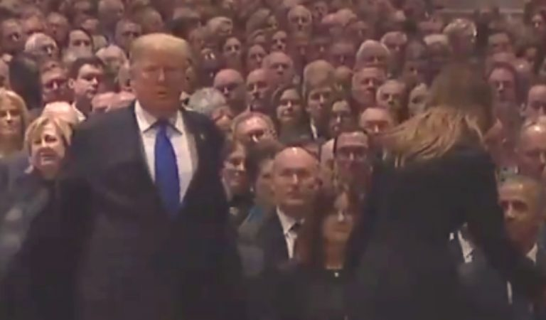 Trump Arrives For Bush Funeral, Sits Next To Past Presidents, The Look Michelle Obama Gives Him Is Priceless
