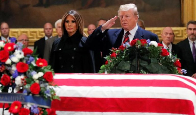 "Americans Roast Trump After ""Draft Dodger"" Salutes Bush's Casket During Tribute"