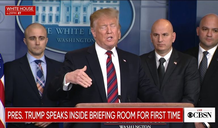Trump Makes Surprise Appearance At Press Briefing, Demands The Wall And Abruptly Leaves Without Taking Questions