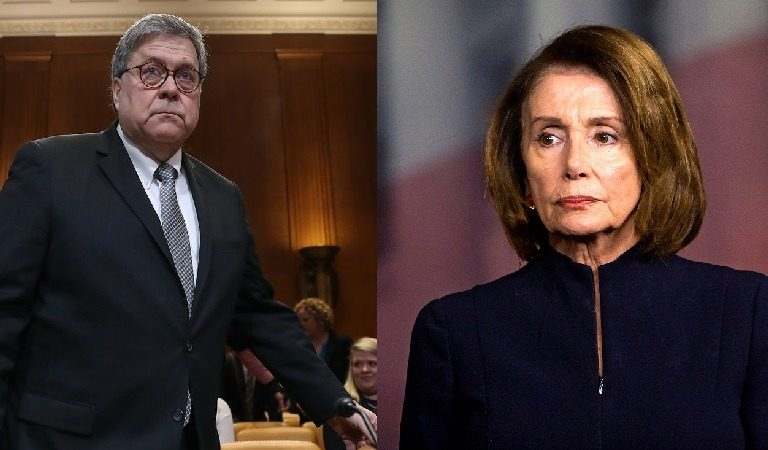 "Nancy Pelosi Responds To Bill Barr At Congressional Hearing After He Asked If She ""Brought Her Handcuffs"""