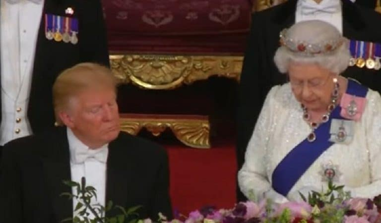 Trump Gets Roasted After Viral Photo Shows His Belly Nearly Bursting From His Clothes During Banquet With Queen
