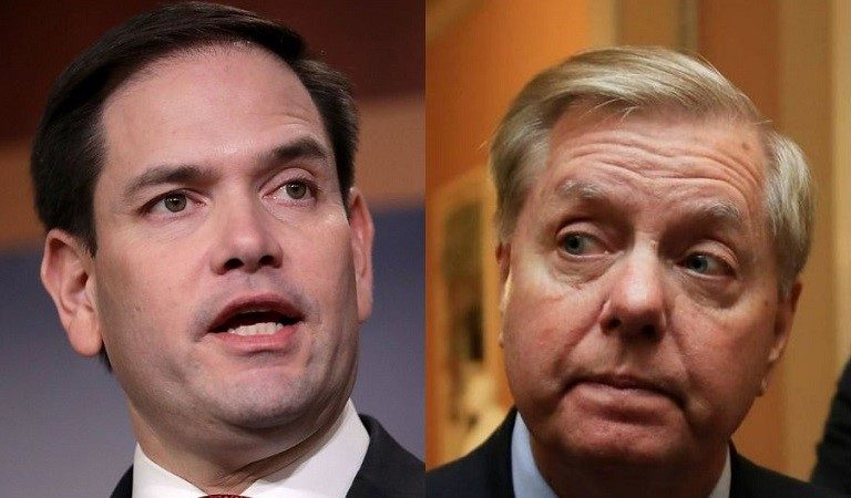 Lindsey Graham And Marco Rubio Looked Visibly Uncomfortable As Trump Went After Democrats During Speech