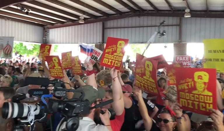 "Mitch McConnell Attempts To Speak At An Event In Kentucky, Gets Drowned Out By People Chanting ""Moscow Mitch"""