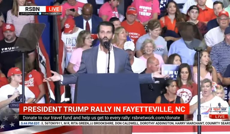 """Don Jr Made """"Me Too"""" Joke At His Dad's NC Rally: """"Do You Think The Media's Gonna Sue Me For Harassment?"""""""