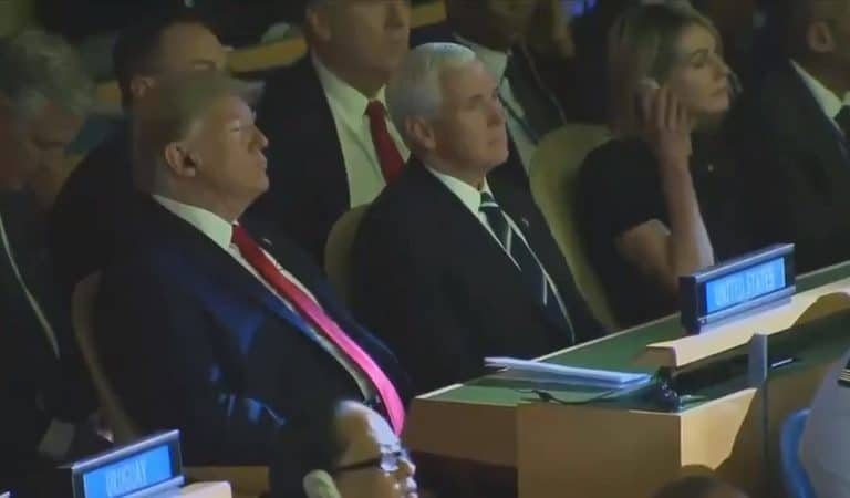 Watch Trump Get Up And Leave UN Climate Summit After Appearing To Look Irritated And Annoyed